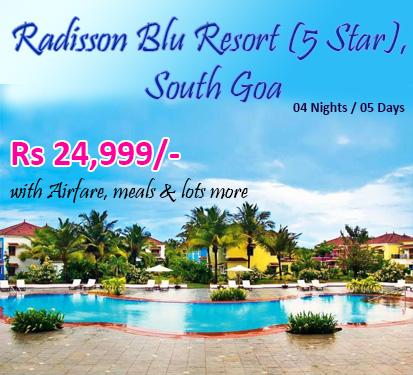 Radisson Blu Resort (5 Star), South Goa( 4 Nights )