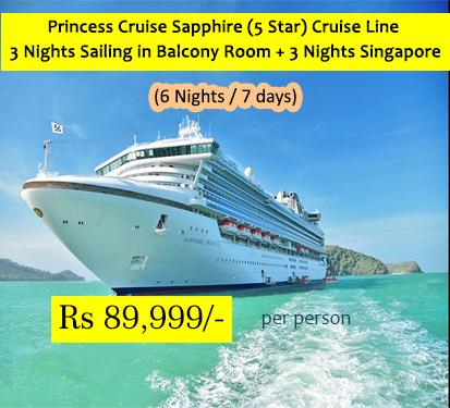 Princess Cruise Sapphire (5 Star) Cruise Line 3 Nights Sailing in Balcony Room + 3 Nights Singapore with Airfare (Ex-Delhi)( 6 Nights )